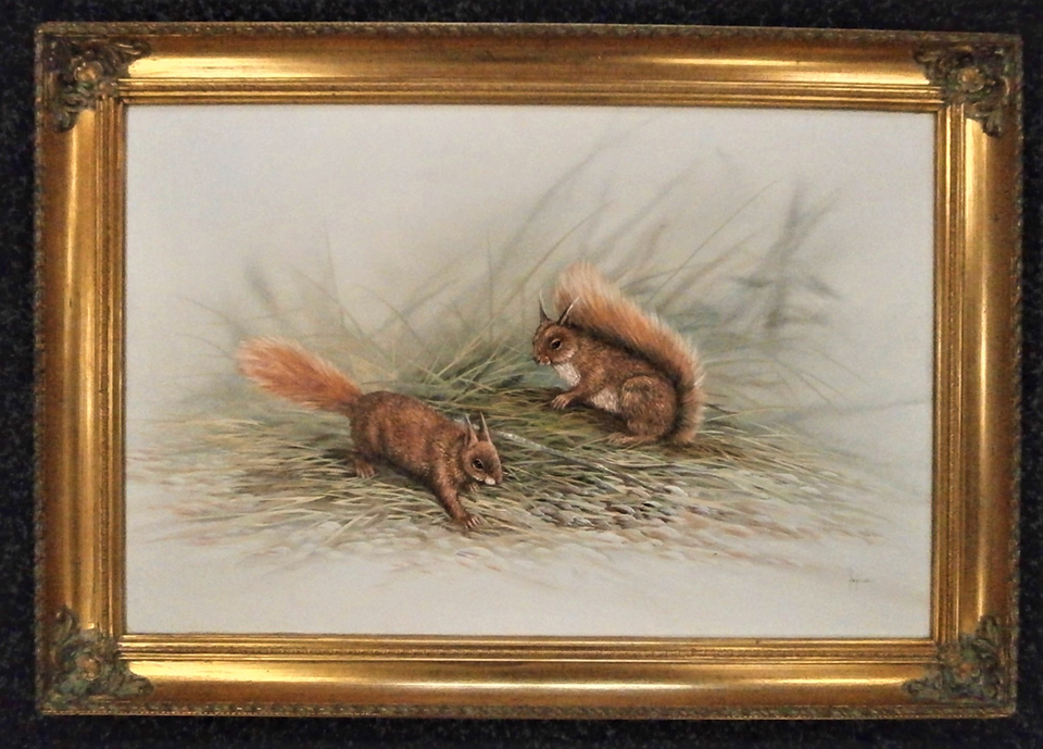 Red Squirrels - Oil on Canvas